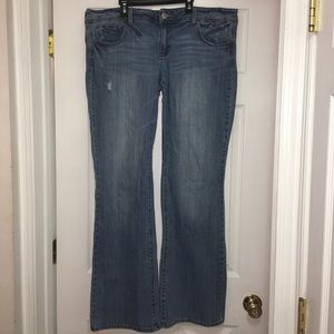 18 long , slim boot, stretch AEO jeans